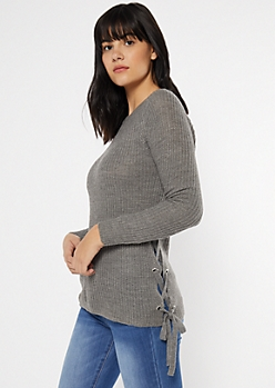 Gray Lace Up Side Fitted Sweater