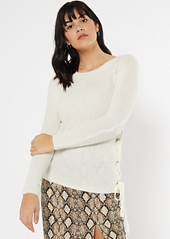 Ivory Lace Up Side Fitted Sweater