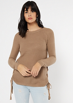 Taupe Lace Up Side Fitted Sweater
