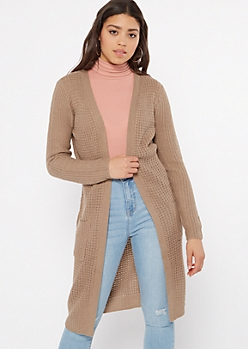 Khaki Waffle Knit Open Long Length Cardigan