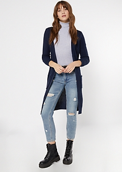 Navy Waffle Knit Open Long Length Cardigan