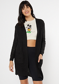 Charcoal Waffle Knit Two Pocket Cardigan