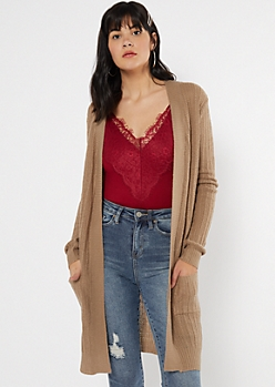 Khaki Waffle Knit Two Pocket Cardigan