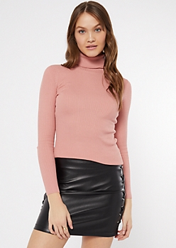 Pink Ribbed Knit Turtleneck Top