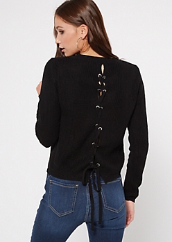 Black Lace Up Back High Low Sweater
