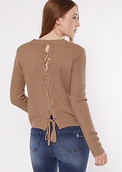 Khaki Lace Up Back High Low Sweater