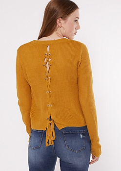 Mustard Lace Up Back High Low Sweater