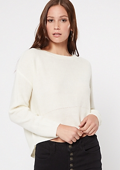 Ivory Lace Up Back High Low Sweater