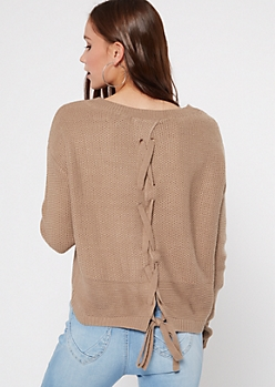 Taupe Lace Up Back High Low Sweater