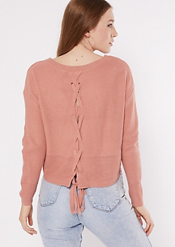 Pink Lace Up Back High Low Sweater