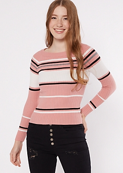 Print Striped Ribbed Knit Fitted Sweater