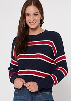Navy Striped Boxy Drop Sleeve Sweater