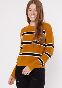 Mustard Striped Boxy Drop Sleeve Sweater