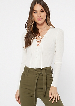 Ivory Ribbed Knit Lace Up Top