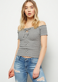 acbffd85a078af Gray Off The Shoulder Lace Up Short Sleeve Top