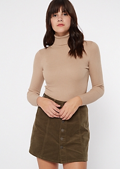 Khaki Fitted Turtle Neck Tee