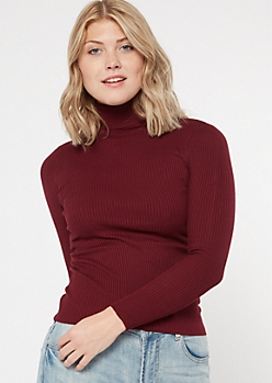 Burgundy Fitted Turtle Neck Tee
