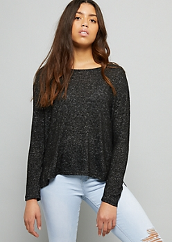 Black High Low Hacci Knit Long Sleeve Top