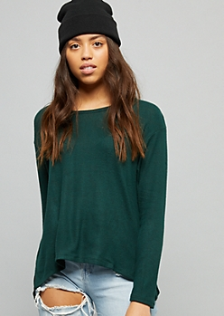 Dark Green High Low Hacci Knit Long Sleeve Top