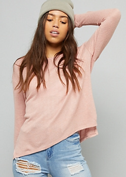 Pink High Low Hacci Knit Long Sleeve Top