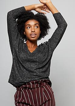 Black Caged Shoulder Hacci Knit Top