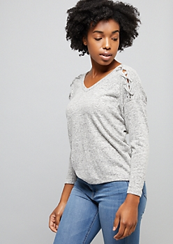 Gray Caged Shoulder Hacci Knit Top