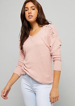 Pink Caged Shoulder Hacci Knit Top