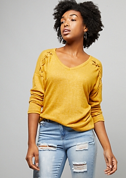 Mustard Caged Shoulder Hacci Knit Top