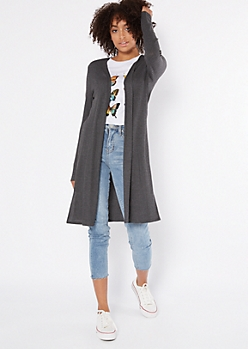 Charcoal Thermal Side Slit Duster Cardigan