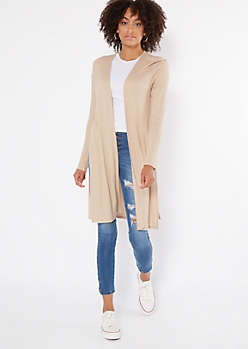 Tan Thermal Side Slit Duster Cardigan
