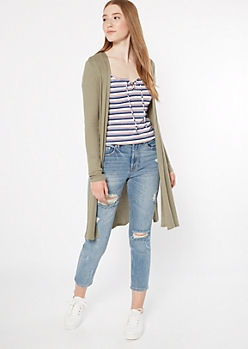 Olive Thermal Side Slit Duster Cardigan