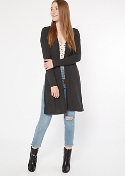 Charcoal Ribbed Knit Side Slit Duster Cardigan