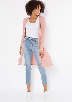 Pink Ribbed Knit Side Slit Duster Cardigan