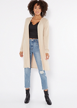Tan Ribbed Knit Side Slit Duster Cardigan