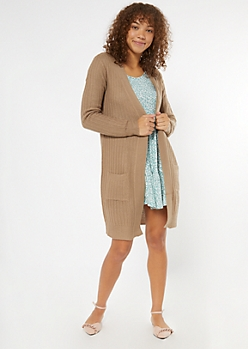 Tan Open Front Duster Cardigan