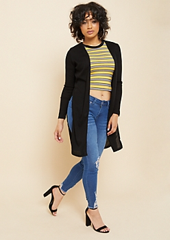 Black Ribbed Knit Side Seam Split Cardigan