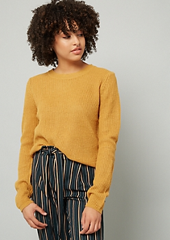 Mustard Lace Up Back Sweater