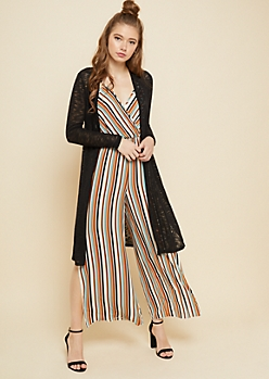 Black Hacci Knit Open Front Maxi Cardigan