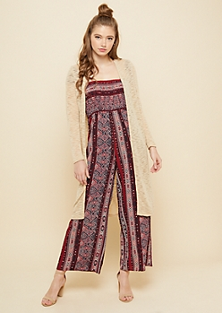 Taupe Hacci Knit Open Front Maxi Cardigan