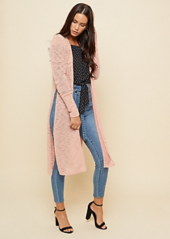 Pink Hacci Knit Open Front Maxi Cardigan
