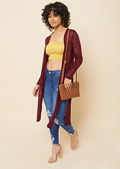 Burgundy Hacci Knit Open Front Maxi Cardigan