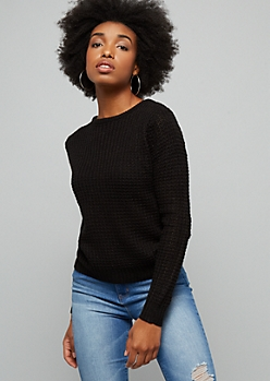 Black Caged Back Waffle Knit Sweater