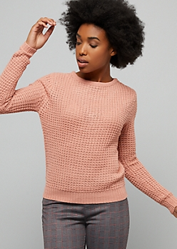 Pink Caged Back Waffle Knit Sweater