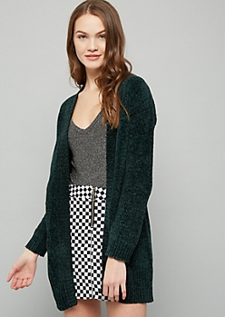 Hunter Green Chenille Open Front Slouchy Cardigan