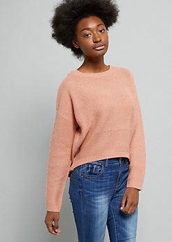 Pink Lace Up Back Skimmer Sweater