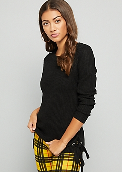 Black Lace Up Side Crew Neck Sweater