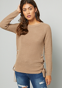 Khaki Lace Up Side Crew Neck Sweater