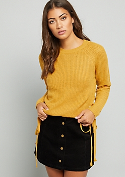Mustard Lace Up Side Crew Neck Sweater