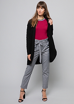 Black Chunky Cable Knit Sleeve Cardigan