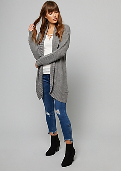 Gray Chunky Cable Knit Sleeve Cardigan